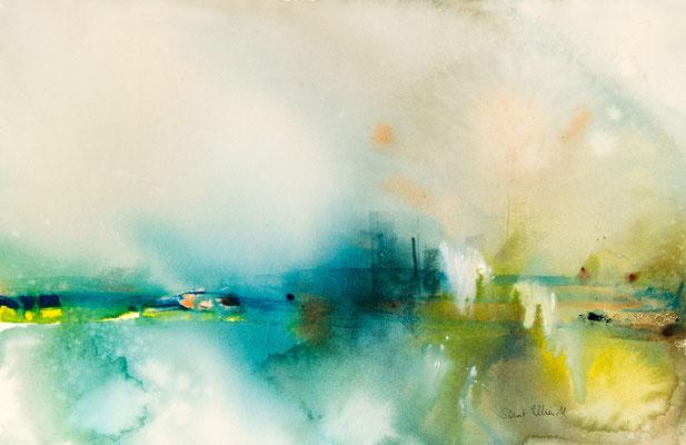 art abstrait  à l'aquarelle - 38 x 55 cm