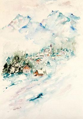 Chalets dans la montagne - aquarelle de Martine Saint Ellier, aquarelliste à Saumur
