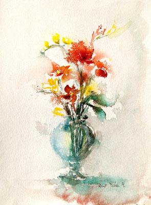 peinture de bouquet de fleurs dans un vase