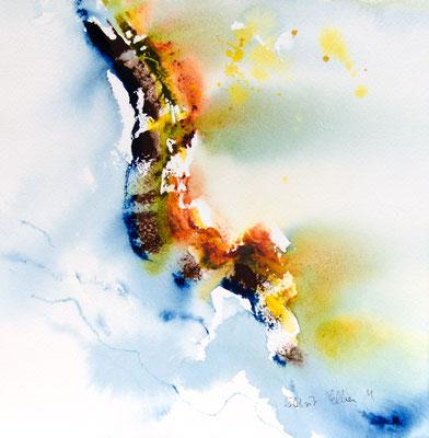 aquarelle abstraite - 23 x 23 cm