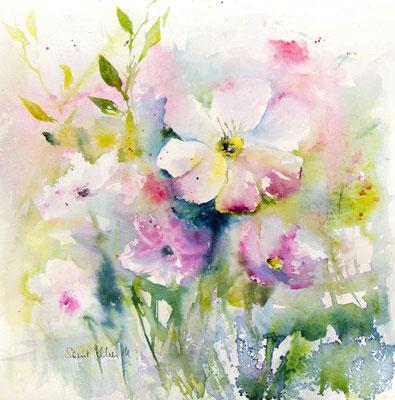 Aquarelle de fleurs printanières