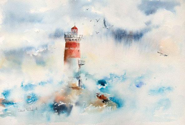 Aquarelle du phare des Pierres Noires peinte par Martine SAINT ELLIER - 38 x 56 cm