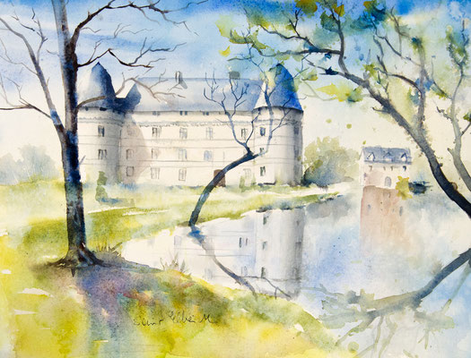 watercolor of l'Islette castle