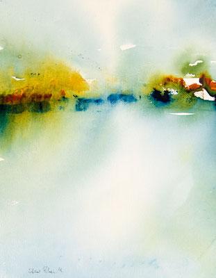 """Peinture abstraite par Martine SAINT ELLIER - """" Sérénité"""" - 29 x 38 cm"""