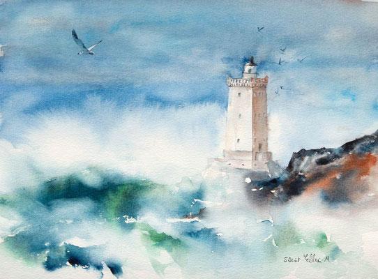 Aquarelle du phare de Kermovan en Bretagne