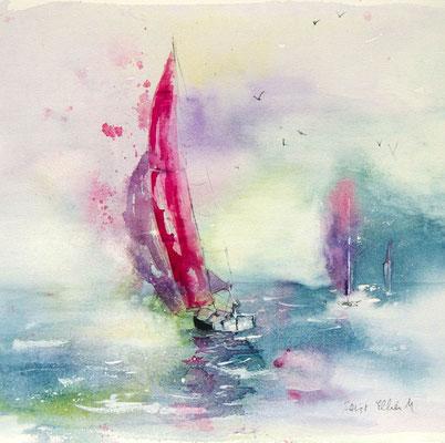 Aquarelles de voiliers sur l'océan
