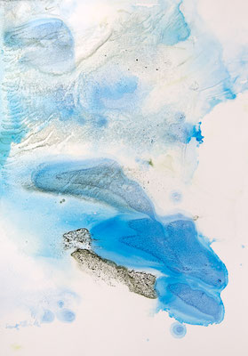 Aquarelles et encres sur papier yupo par Martine SAINT ELLIER