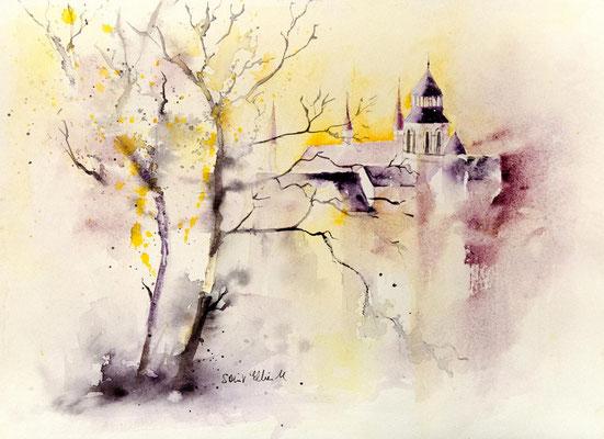 Peinture aquarelle de l'Abbaye de Fontevrault