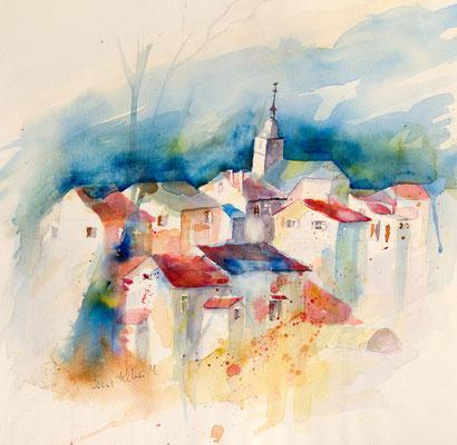 Aquarelle de maisons et d'une église - 38 x 38 cm