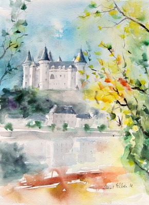 Aquarelle du château de Saumur 28 x 38 cm
