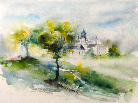 watercolor of Fontevraud Abbey
