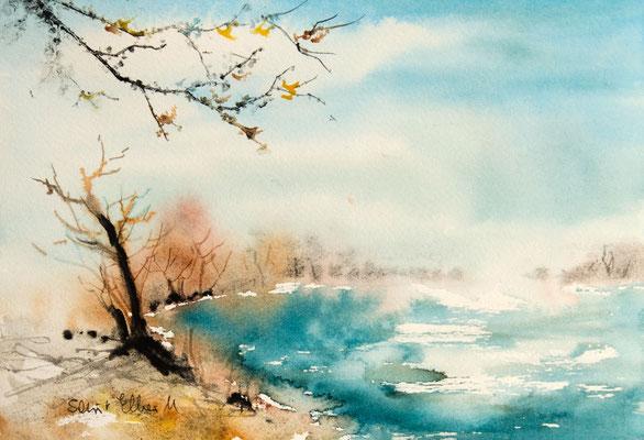 Aquarelle Martine SAINT ELLIER - au bord de l'étang - 19 x 27 cm