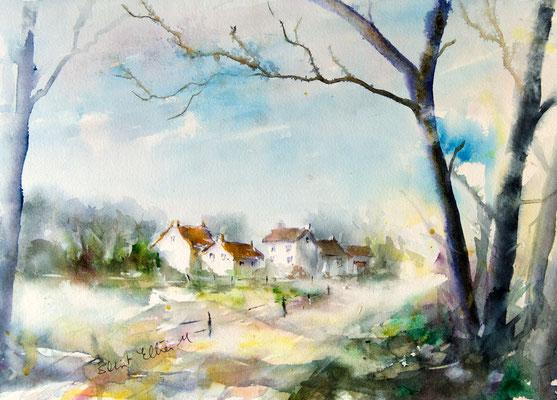 Aquarelle d'un paysage du Val de Loire - Munet près de Saumur