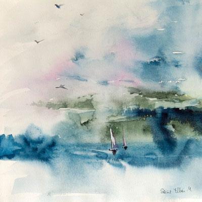 Aquarelle de voiliers au vent, peinture de bateaux