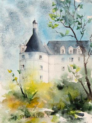watercolor of Chambord castle