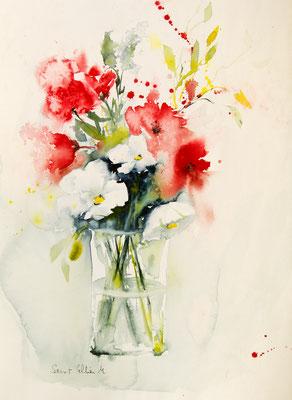 Bouquet de fleurs rouges et blanches à l'aquarelle - 35 x 45 cm