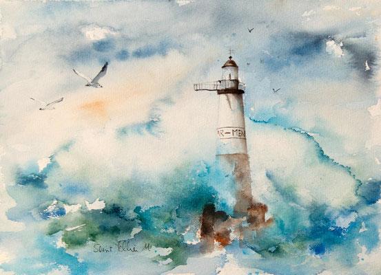 Peinture du phare d'Ar men, aquarelle marine