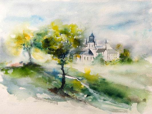 Aquarelle abbaye royale de Fontevraud par l'artiste Martine SAINT ELLIER