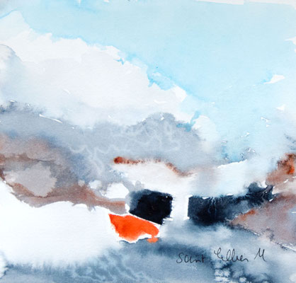 Abstract watercolor painting by Martine SAINT ELLIER