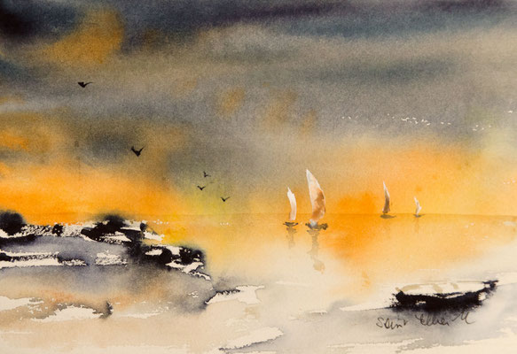 Aquarelle de coucher de soleil  sur la mer avec un voilier
