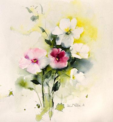 Fleurs de printemps à l'aquarelle