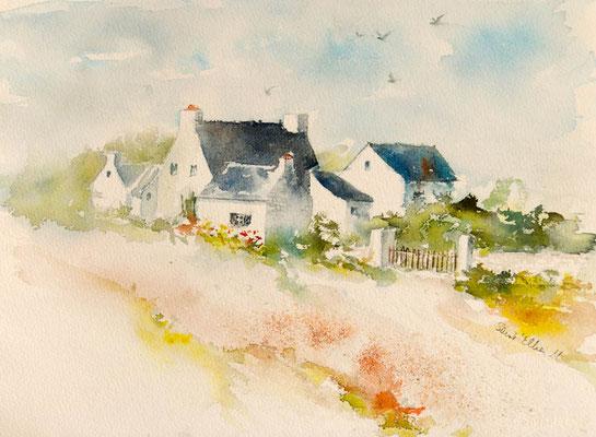 Aquarelle de maisons bretonnes