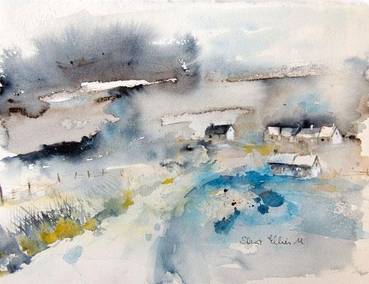 Paysage imaginaire - aquarelle de Martine Saint Ellier