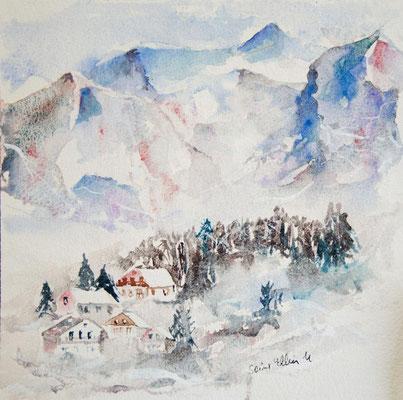 Aquarelle de petits chalets et de sapins dans la montagne