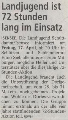 Ankündigung Infoveranstaltung 72-Stunden-Aktion (Quelle: NEZ 14.04.2015)