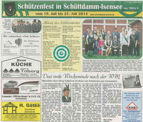 Vorbericht Schützenfest 2014 (Quelle: NEZ 16.07.2014)