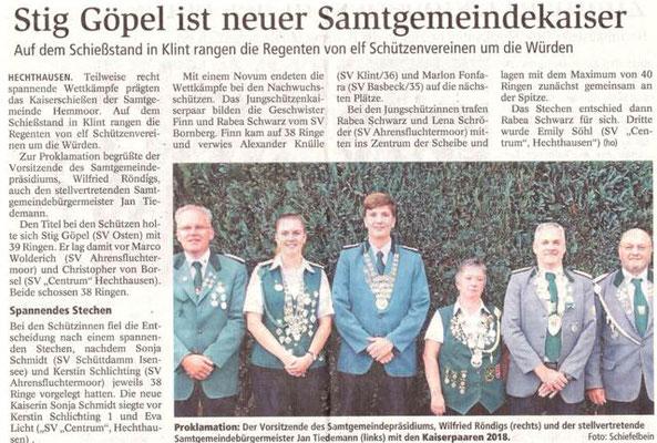 Samtgemeinde-Kaiserschießen 2018 (Quelle: NEZ 05.10.2018)