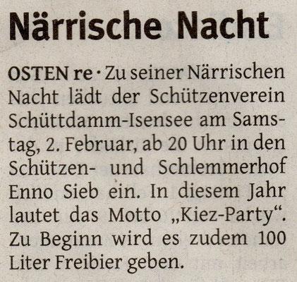 Vorbericht 13. Närrische Nacht (Quelle: NEZ 29.01.2013)