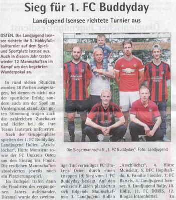 Fußballturnier 2016 (Quelle: Hadler-Kurier 22.06.2016)