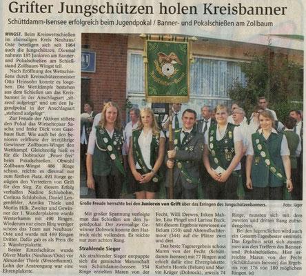 Kreiswettschießen Altkreis Neuhaus/Oste Jungschützen 2012 (Quelle: NEZ 24.08.2012)
