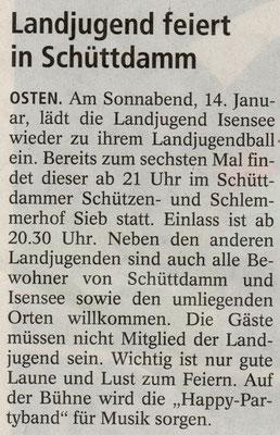 Vorbericht Landjugendball 2012 (Quelle: NEZ 11.01.2012)