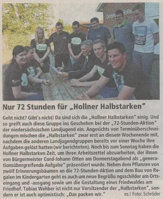 72-Stunden-Aktion Hollen (Quelle: NEZ 06./07. Juni 2015)