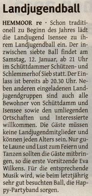 Vorbericht Landjugendball 2013 (Quelle: Elbe Weser Aktuell 09.01.2013)