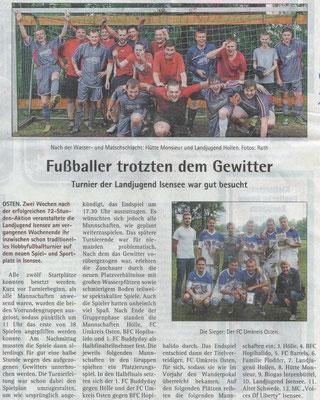 Fußballturnier 2015 (Quelle: Hadler-Kurier 17.06.2015)