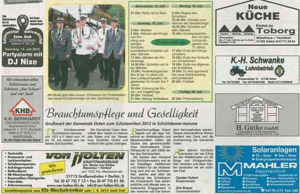 Vorbericht Schützenfest 2012 Teil 2 (Quelle: NEZ 11.07.2012)