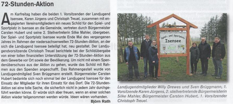 72-Stunden-Aktion 2015 - Übergabe Sportplatzschild (Quelle: Hemmoor-Magazin, 8. Jahrgang, Heft 23, August 2016)