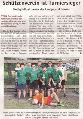 Fußballturnier 2018 (Quelle: Hadler Kurier 23./24.06.2018)