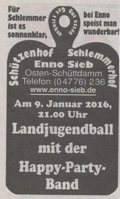 Anzeige Enno Sieb zum Landjugendball 2016 (Quelle: Hadler Kurier 06.01.2016)