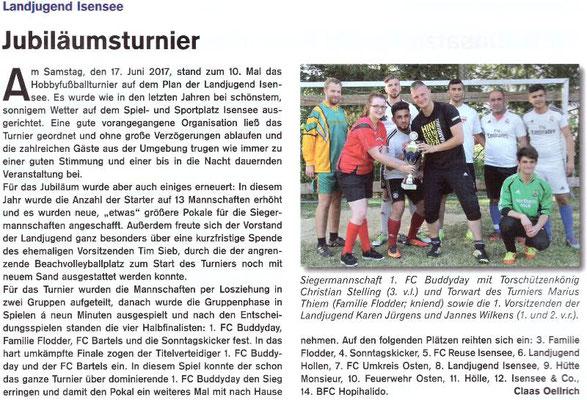 Fußballturnier 2017 (Quelle: Hemmoor-Magazin, 9. Jahrgang, Heft 26, August 2017)