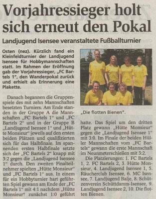 Fußballturnier 2009 (Quelle: NEZ 30.06.2009)