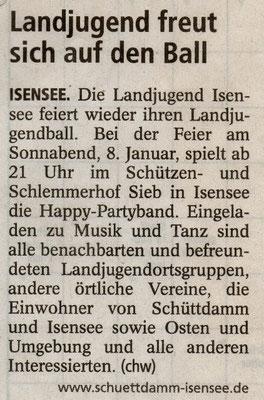 Vorbericht Landjugendball 2011 (Quelle: Stader Tageblatt 04.01.2011)