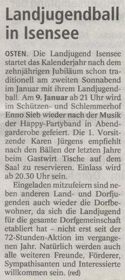 Vorbericht Landjugendball 2016 (Quelle: NEZ 06.01.2016)