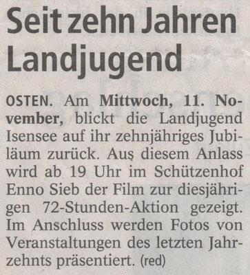 10 Jahre Landjugend Isensee (Quelle: NEZ 09.11.2015)