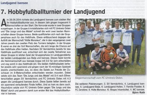 Fußballturnier 2014 (Quelle: Hemmoor Magazin, 6. Jahrgang, Nr. 17, Juli 2014)