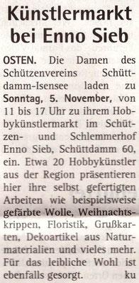 Hobbykünstlermarkt 2017 (Quelle: Hadler Kurier 28./29.10.2017)