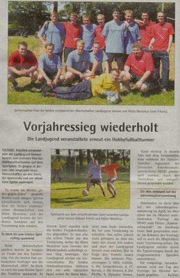 Fußballturnier 2013 (Quelle: Hadler Kurier 19.06.2013)